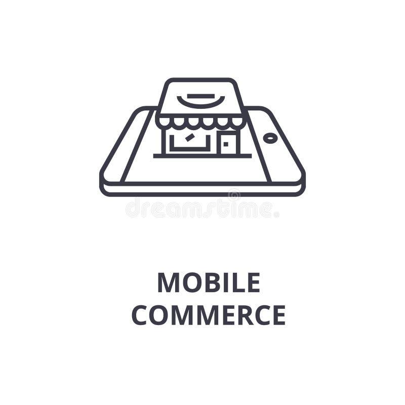 Linea mobile icona, segno del profilo, simbolo lineare, vettore, illustrazione piana di commercio royalty illustrazione gratis