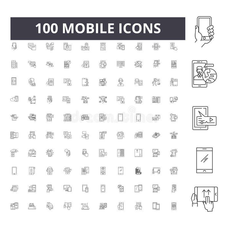 Linea mobile icone, segni, insieme di vettore, concetto dell'illustrazione del profilo illustrazione di stock