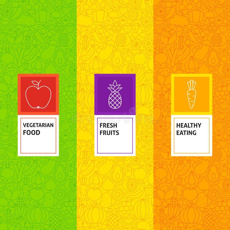 Linea modelli dell'ortaggio da frutto determinati royalty illustrazione gratis