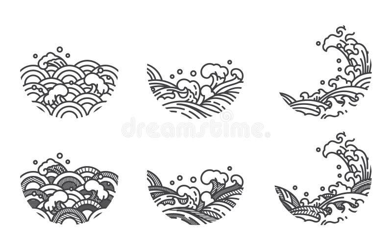 Linea modello dell'onda di acqua di logo giapponese tailandese illustrazione vettoriale
