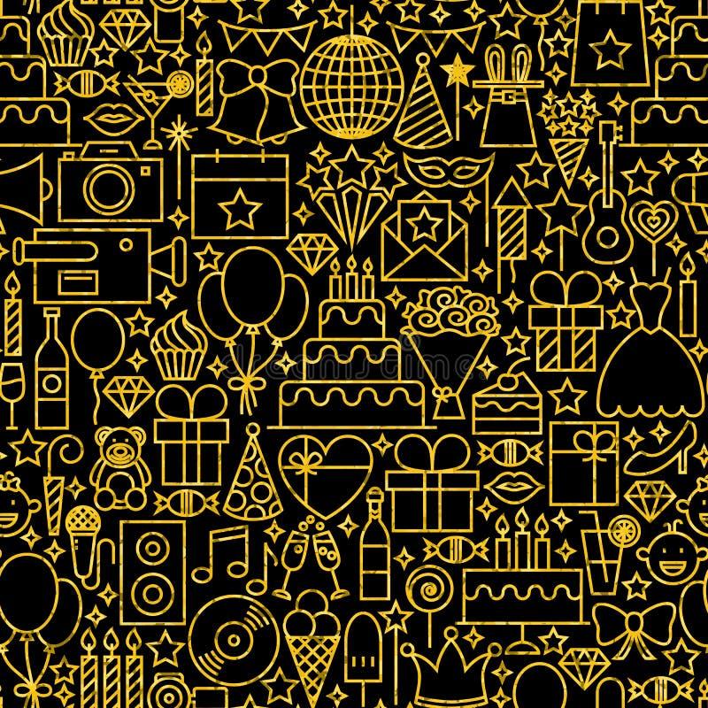 Linea modello delle mattonelle di compleanno del nero dell'oro illustrazione vettoriale