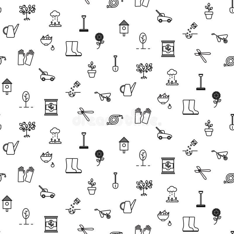 Linea modello senza cuciture degli strumenti di giardino di vettore delle icone illustrazione di stock