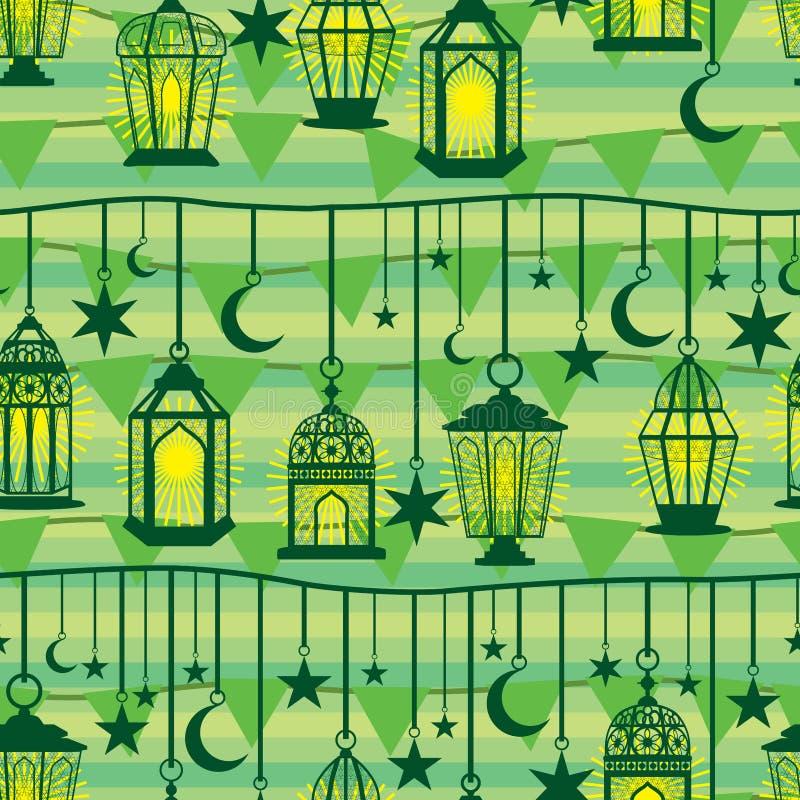 Linea modello senza cuciture di caduta della lanterna del Ramadan della bandiera royalty illustrazione gratis