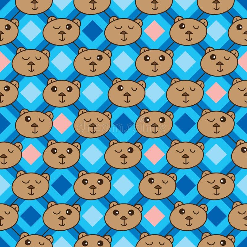 Linea modello senza cuciture di forma del diamante della testa dell'orso royalty illustrazione gratis