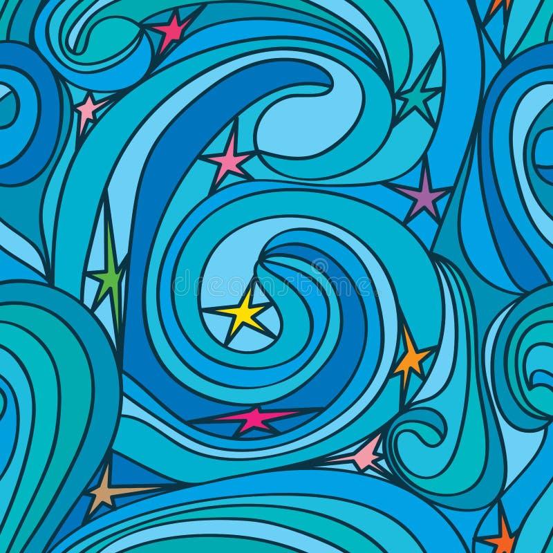 Linea modello senza cuciture di turbinio della stella illustrazione vettoriale