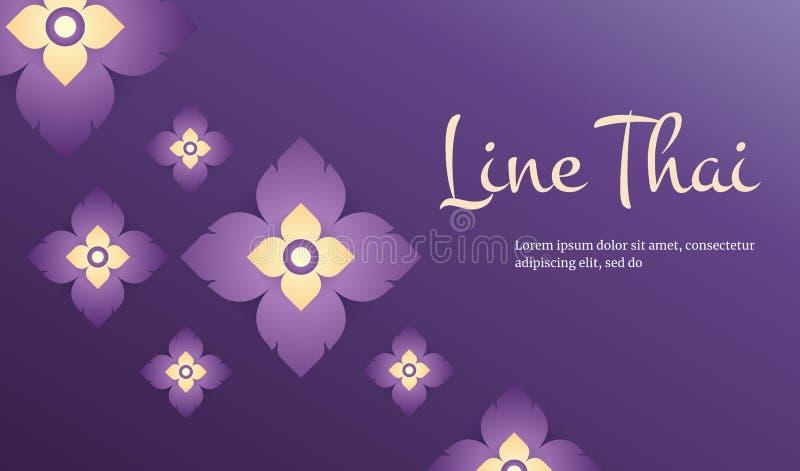 Linea moderna concetto tradizionale del modello tailandese le arti di Thailan illustrazione di stock