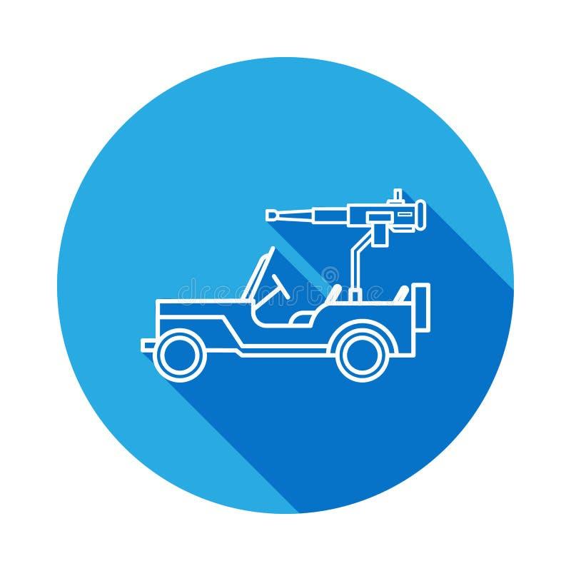 Linea moderna icona del camion di esercito con ombra lunga E I segni ed i simboli descrivono l'icona per i siti Web, web d illustrazione di stock