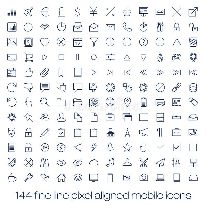 Linea moderna icone, pixel dell'interfaccia utente perfetti illustrazione vettoriale