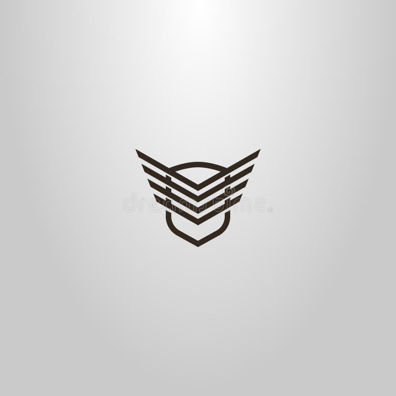 Linea moderna segno di vettore semplice di arte dello schermo con le ali astratte su  royalty illustrazione gratis