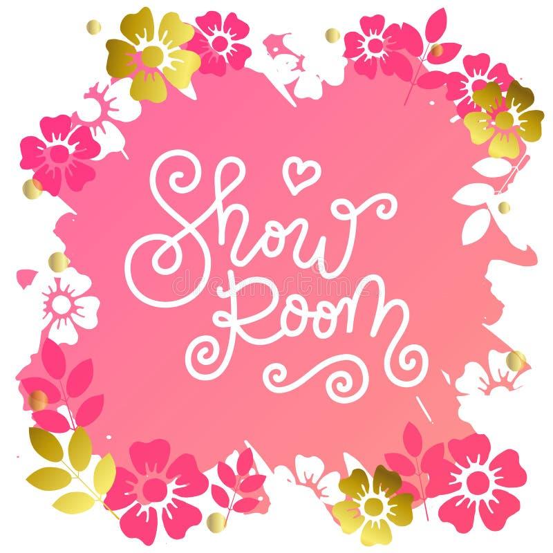 Linea mono moderna calligrafia di Show Room in bianco su sfondo rosa con cornice di fiori royalty illustrazione gratis