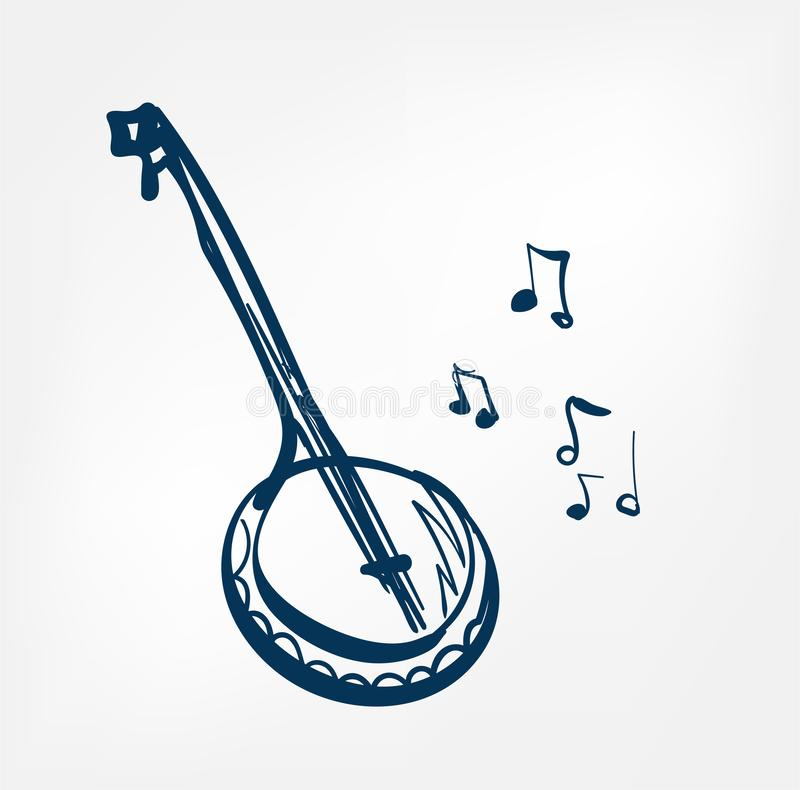 Linea musica isolata progettazione di schizzo del banjo di vettore illustrazione di stock