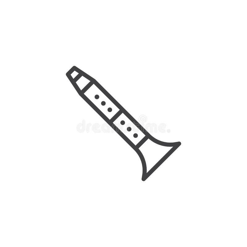 Linea musicale icona di insrument dell'oboe illustrazione di stock