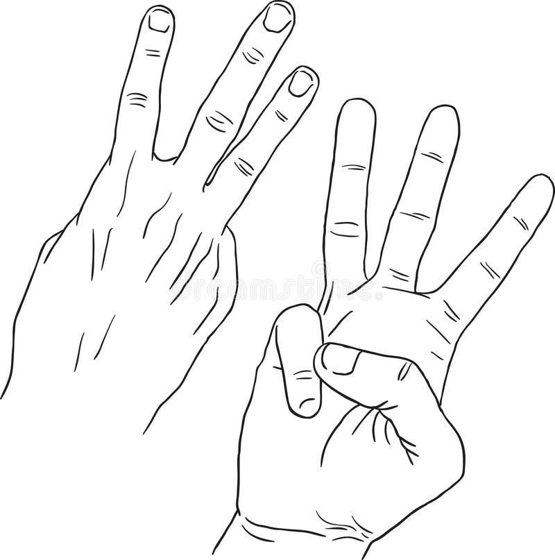 Linea nera Art Hand Draw Hand Gesture tre royalty illustrazione gratis
