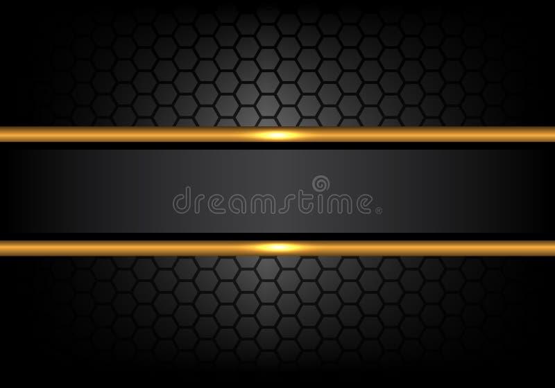 Linea nera astratta insegna dell'oro sul vettore di lusso moderno del fondo di progettazione del modello della maglia di esagono illustrazione vettoriale