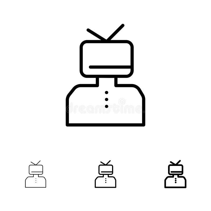Linea nera audace e sottile felice e della persona insieme di affermazione, di affermazioni, di stima, dell'icona royalty illustrazione gratis