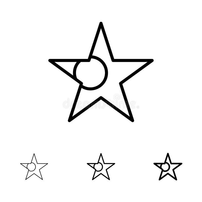 Linea nera audace e sottile insieme del Bangladesh, della bandiera, della stella dell'icona royalty illustrazione gratis