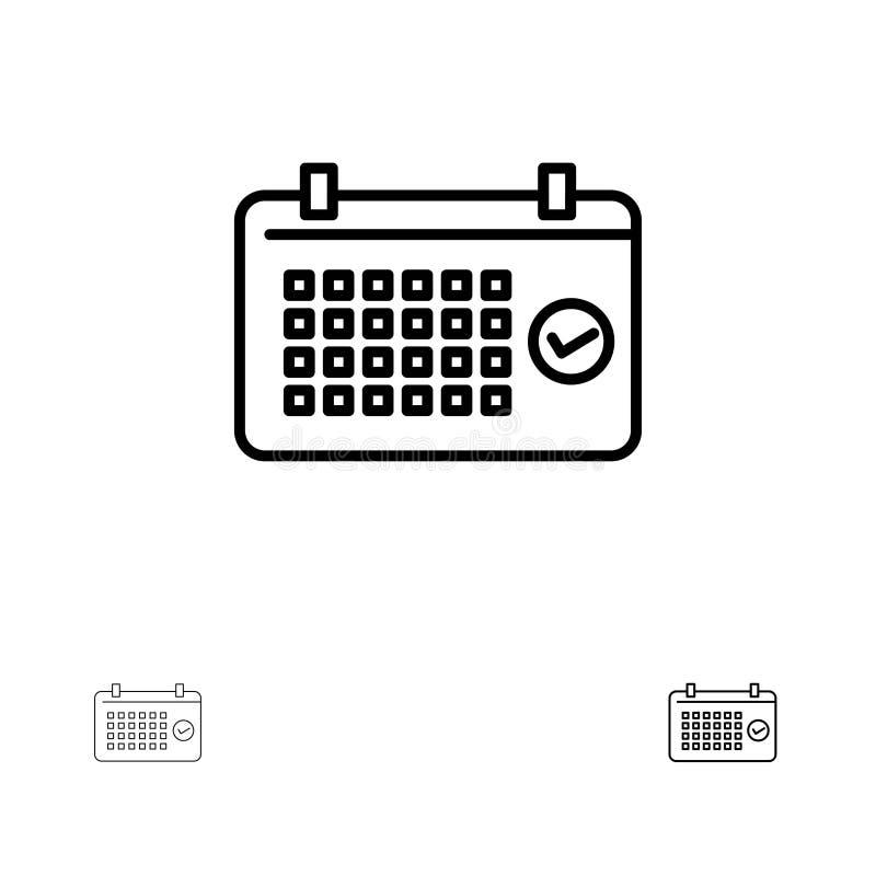 Linea nera audace e sottile insieme del calendario, della data, di mese, di anno, di ora dell'icona illustrazione vettoriale