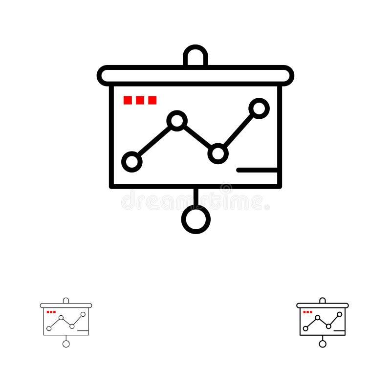 Linea nera audace e sottile insieme del grafico, di presentazione, del grafico, del proiettore dell'icona illustrazione di stock