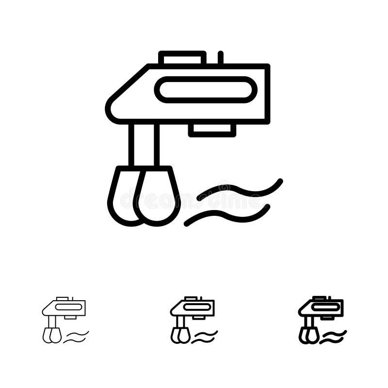 Linea nera audace e sottile insieme del miscelatore, della cucina, del manuale, del miscelatore dell'icona illustrazione di stock