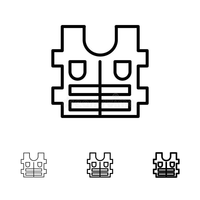 Linea nera audace e sottile insieme del rivestimento, di vita, di sicurezza dell'icona illustrazione vettoriale