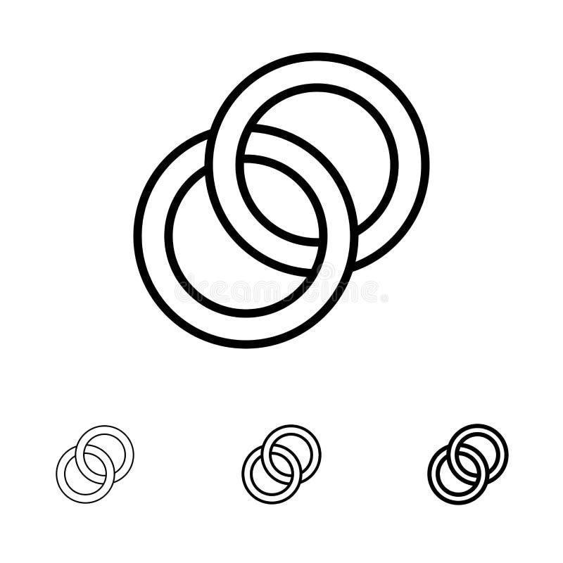 Linea nera audace e sottile insieme dell'anello, di nozze, delle coppie, di impegno dell'icona illustrazione vettoriale