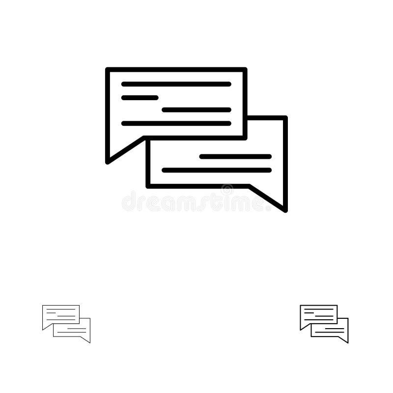 Linea nera audace e sottile insieme di chiacchierata, della bolla, delle bolle, di comunicazione, di conversazione, del sociale,  royalty illustrazione gratis