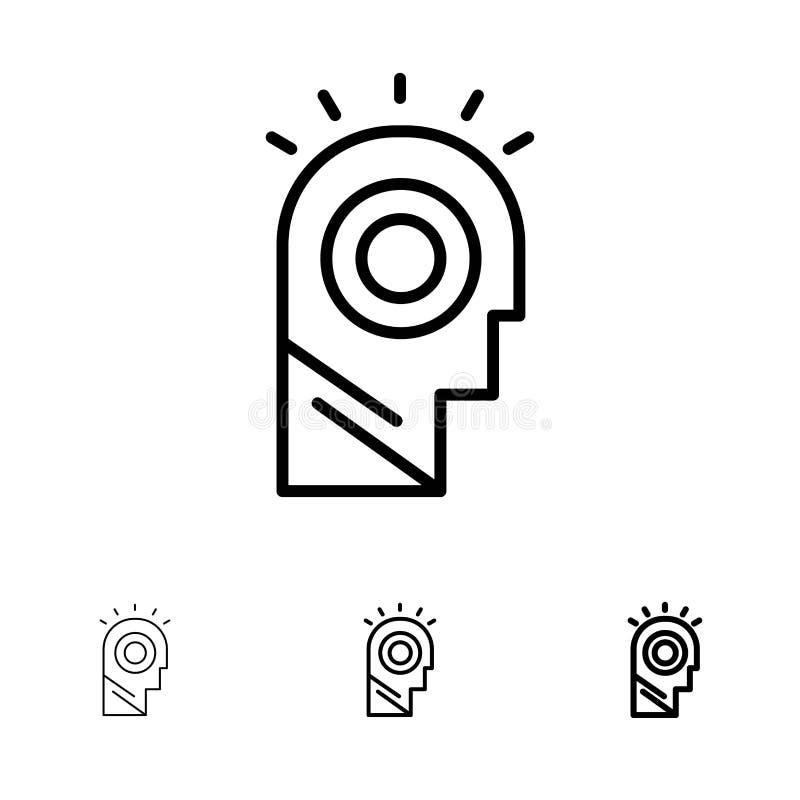 Linea nera audace e sottile insieme di idea, della luce, dell'uomo, del cappello dell'icona illustrazione vettoriale