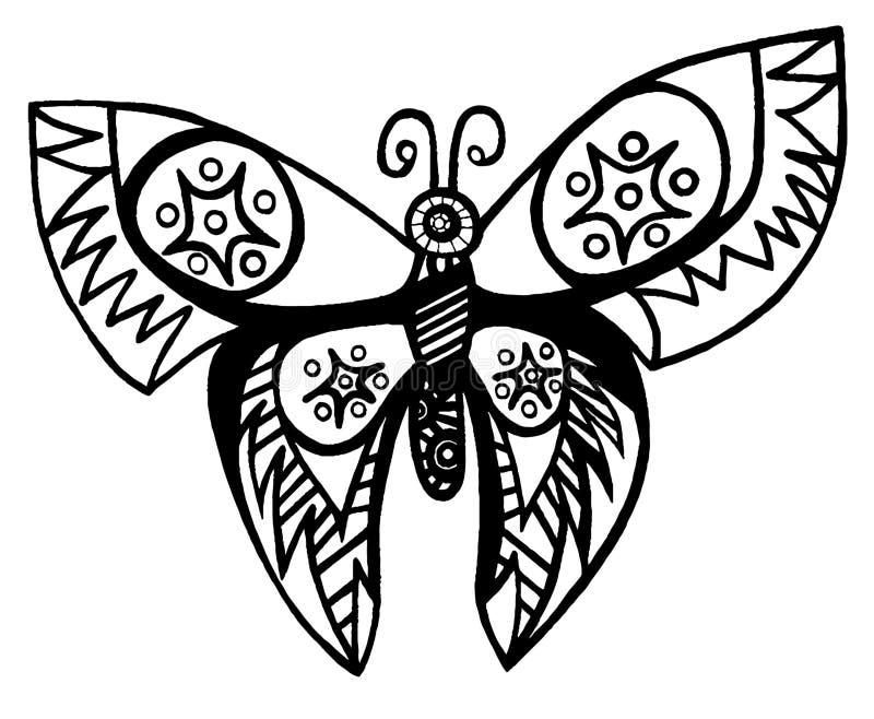 Linea Nera Farfalla Per Il Tatuaggio Libro Da Colorare Per L