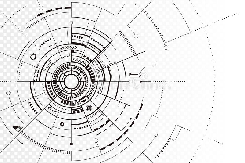 Linea nera fondo di tecnologia dell'estratto della siluetta illustrazione vettoriale