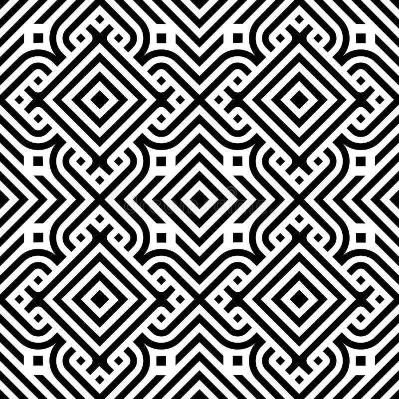 Linea nera fondo senza cuciture di vettore del modello dell'estratto geometrico del diamante royalty illustrazione gratis