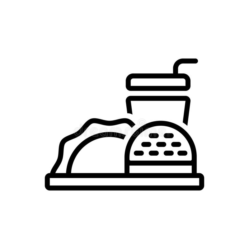 Linea nera icona per alimento, il pasto e non sano royalty illustrazione gratis