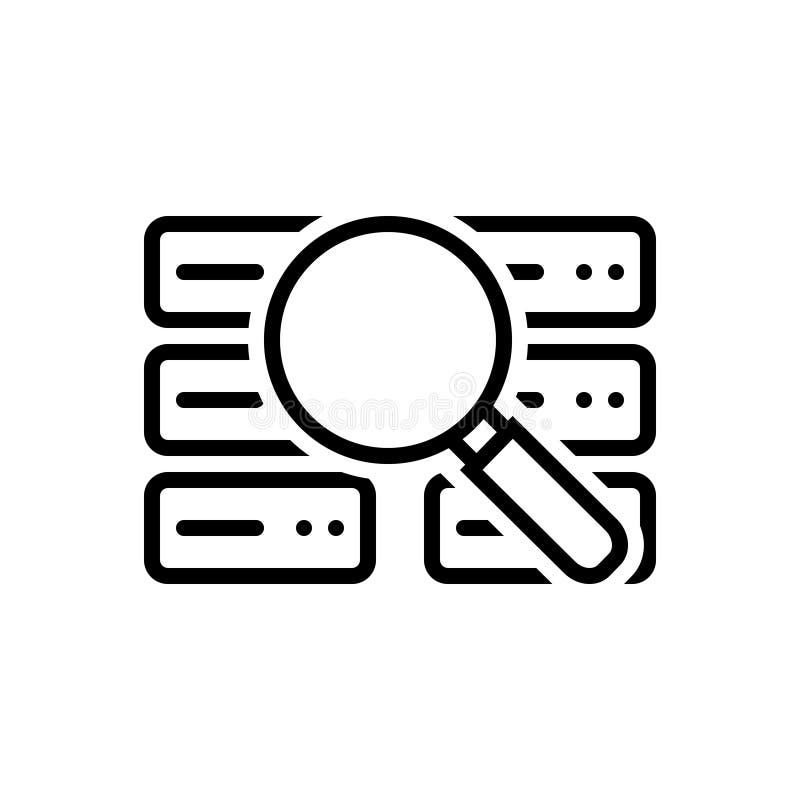 Linea nera icona per analisi dei dati di riserva, dati ed analisi royalty illustrazione gratis