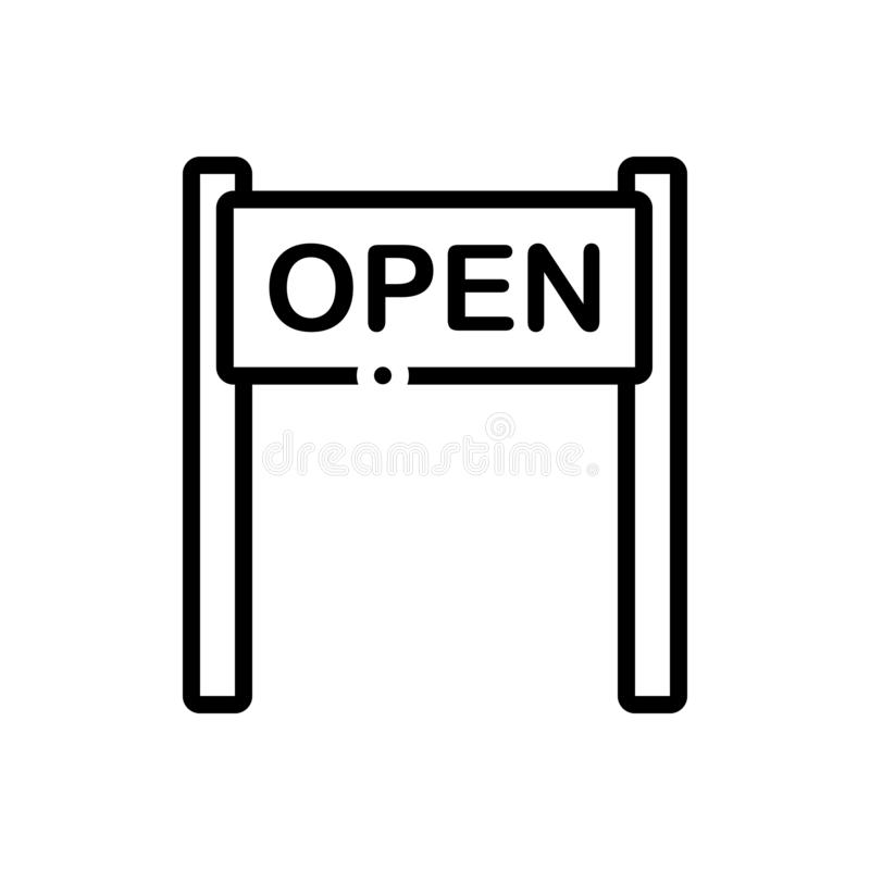 Linea nera icona per aperto, il segno ed appendere illustrazione vettoriale