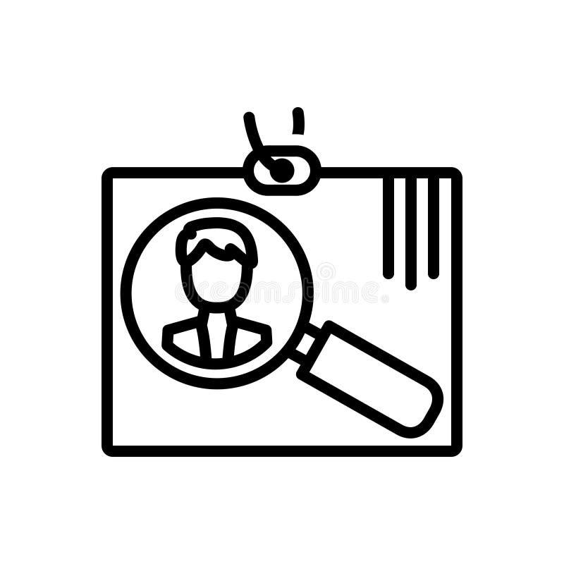 Linea nera icona per assunzione, arruolamento ed assumere illustrazione vettoriale