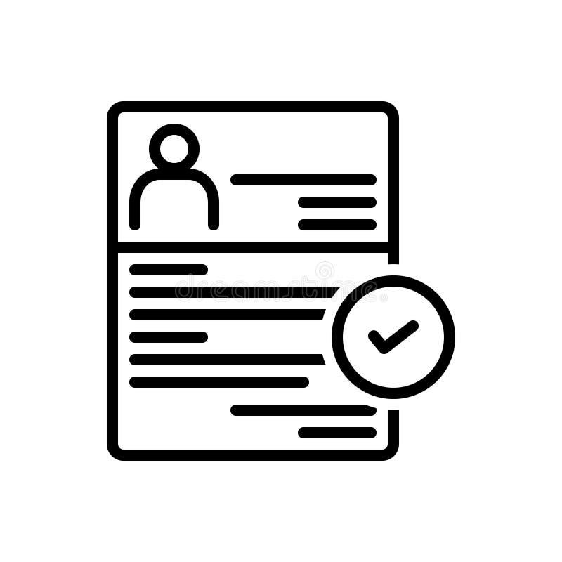 Linea nera icona per assunzione, arruolamento ed iscrizione illustrazione di stock