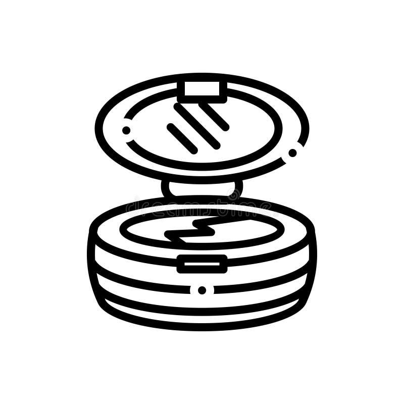 Linea nera icona per Bronzer, trucco e crema illustrazione vettoriale