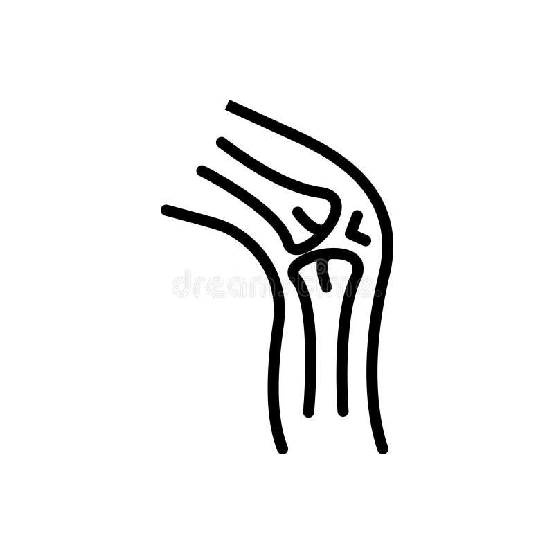 Linea nera icona per cartilagine, la malattia ed il femore illustrazione di stock