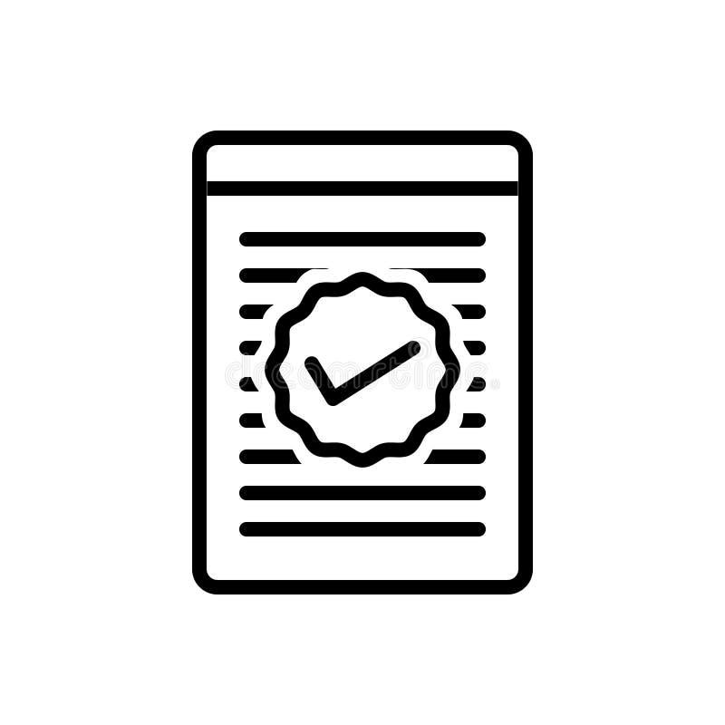 Linea nera icona per Checked, la lista di controllo ed il rapporto royalty illustrazione gratis