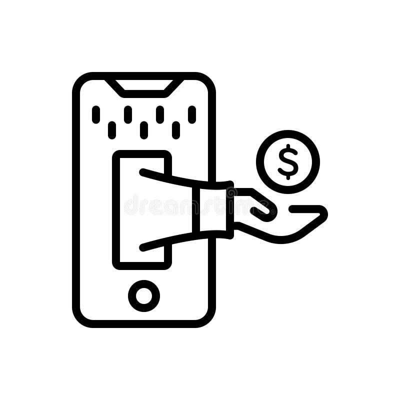 Linea nera icona per commercio, l'affare ed il commercio illustrazione vettoriale