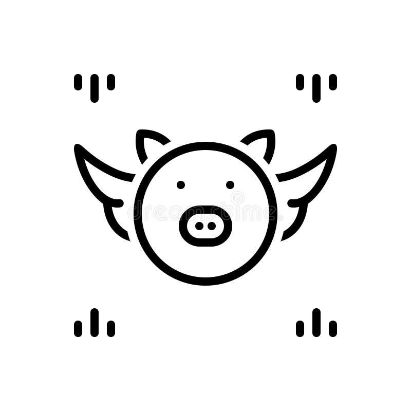 Linea nera icona per congetturale, il benessere e il emoji royalty illustrazione gratis