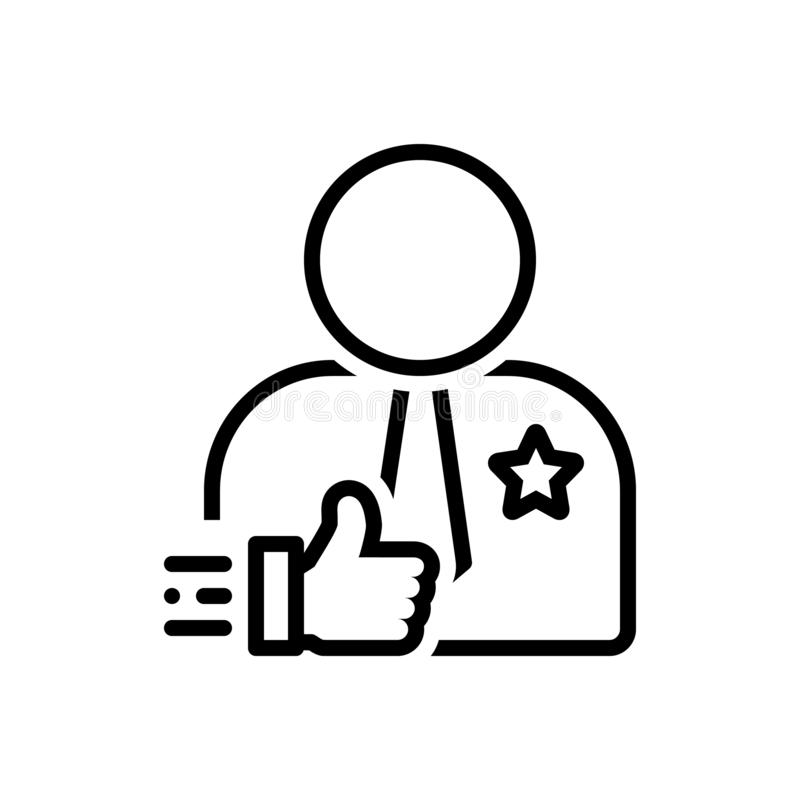 Linea nera icona per credibile, affidabile e credibile illustrazione vettoriale