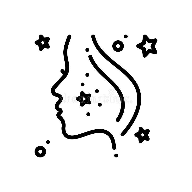 Linea nera icona per Derma, il fronte e la pelle illustrazione di stock