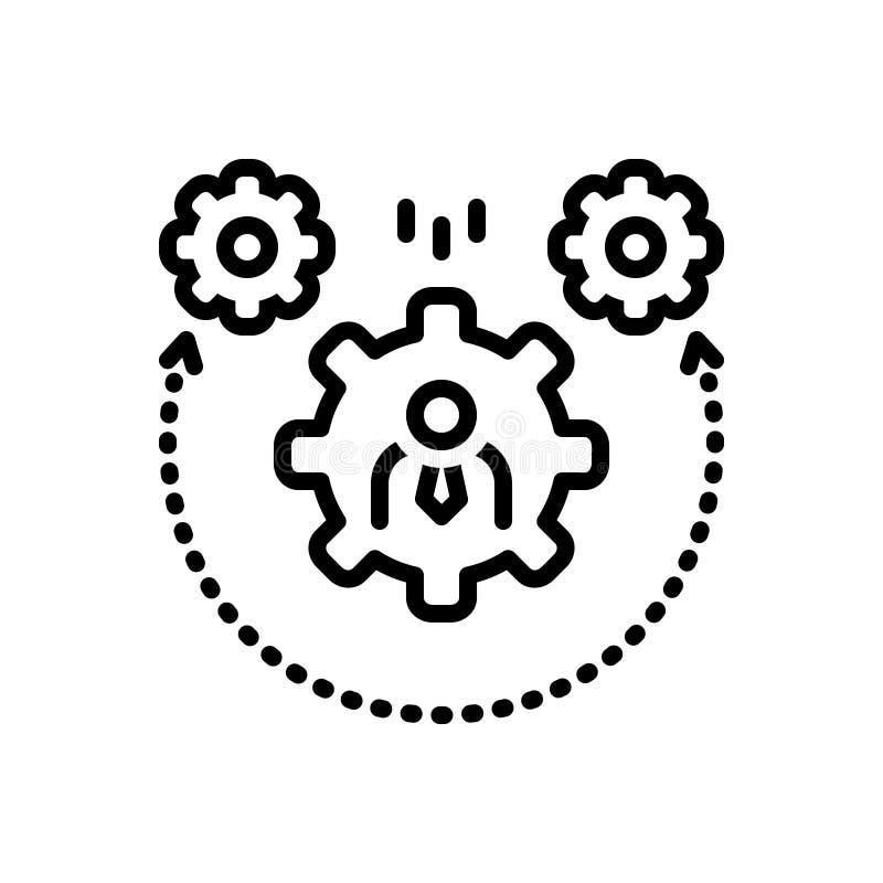 Linea nera icona per dinamismo, la regolazione e la ruota dentata royalty illustrazione gratis