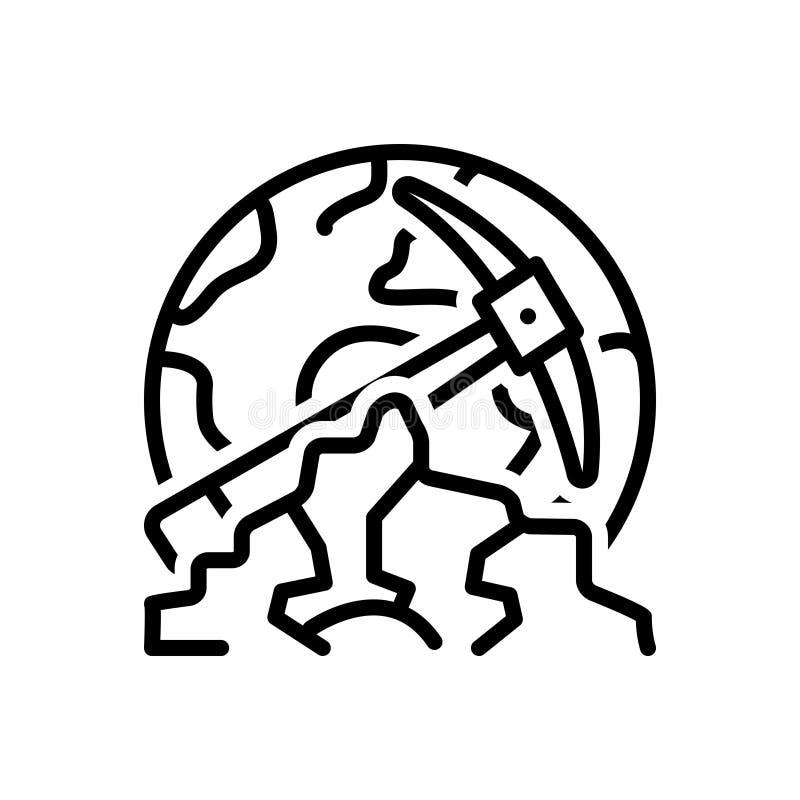 Linea nera icona per geologico, il geologo ed il paesaggio illustrazione di stock