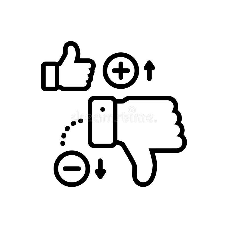 Linea nera icona per gli svantaggi, dissimile ed il pollice royalty illustrazione gratis