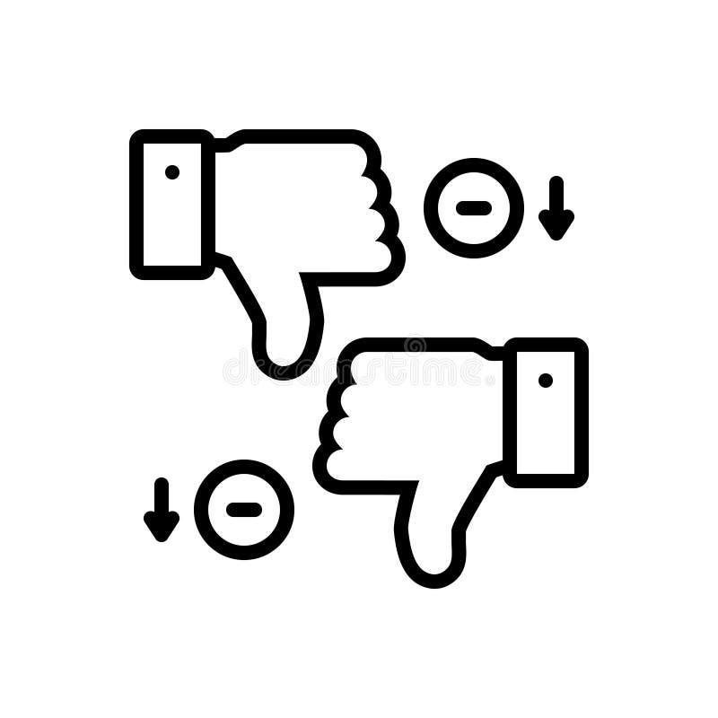 Linea nera icona per gli svantaggi, dissimile ed il pollice illustrazione di stock