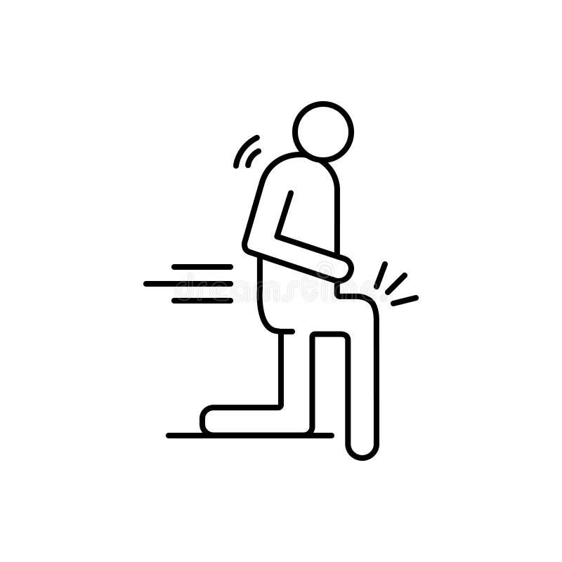 Linea nera icona per i dolori, il dolore e la spina dorsale del corpo royalty illustrazione gratis