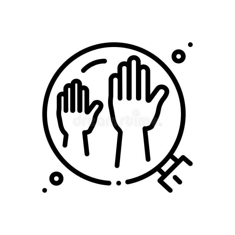 Linea nera icona per i Enablers, il sostenitore ed il fautore illustrazione vettoriale