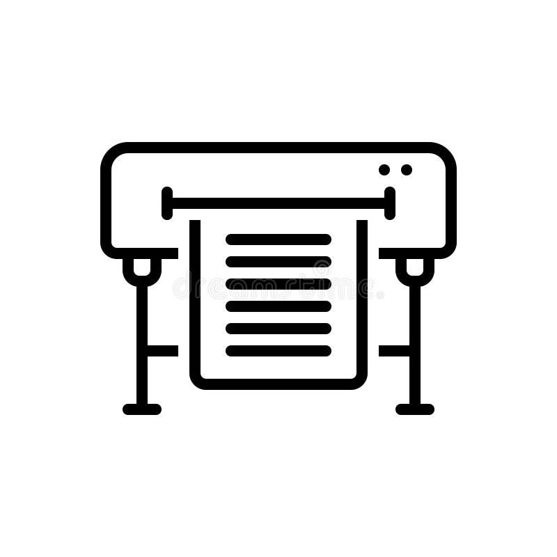 Linea nera icona per i rifornimenti, il giornale e la rivista della stampa royalty illustrazione gratis