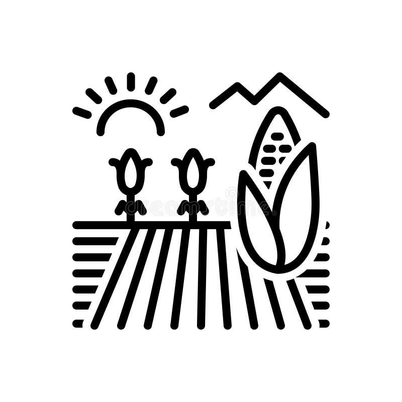 Linea nera icona per il campo di mais, il raccolto e coltivare illustrazione di stock